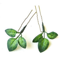 2x Green Rose Leaf Hair Pins Bronze Artificial Woodland Wedding Bridal Set 1423
