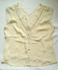 NEXT LIGHT CREAM IVORY CRINKLE V NECK S LESS BRODIERIE ANGLAISE BUTTON TOP 20