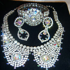 VTG JULIANA FOR HOBE IRIS RHINESTONE COLLAR NECKLACE BRACELET EARRING SET PARURE