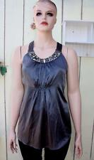 CACHE Women's Halter Top Silk Grey silver stones blouse ties back bow ( XL ) #83