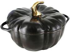 Staub 3.5 Qt Cast Iron Pumpkin Cocotte Dutch Oven Cooking Pot w Lid Matte Black