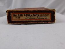 Vintage Starrett Steel Tape Measure No. 505 With Box & Paperwork 50 Ft.