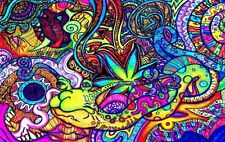 "Psychedelic Trippy Art Silk Cloth Poster 21"" x13"" Decor 25"