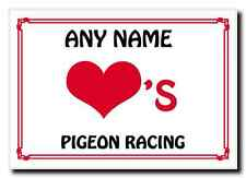 Love Heart Pigeon Racing Personalised Jumbo Magnet