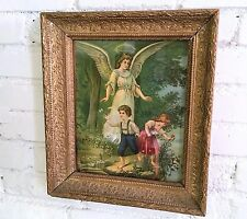 Victorian Framed Guardian Angel Print Original Antique Late 1800s Christmas Gift