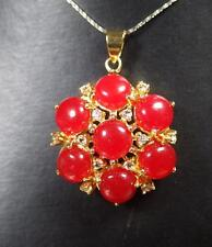 Gold Plate Red JADE Pendant Cabochon Flower Necklace Diamond (Imitation) 282942