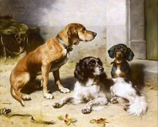 SPANIEL & DACHSHUND HOUND DOGS CANINE PAINTING PET DOG ART REAL CANVAS PRINT