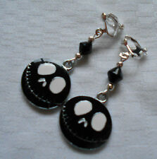 Handmade Jack The Nightmare Before Christmas clip on earrings silver plated