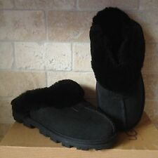 UGG COQUETTE BLACK SUEDE SHEEPSKIN SLIPPERS SHOES US 11 WOMENS 5125