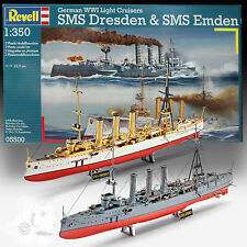 REVELL 1/350 SMS DRESDEN AND SMS EMDEN GERMAN WWI LIGHT CRUISERS