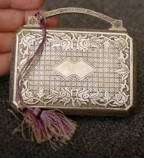 ELGIN CLOCK CO HEAVILY FLORAL ENGRAVED PURPLE TASSEL SILVER PLATE PURSE COMPACT