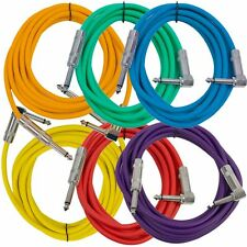 """6 Pack - 10' Colored Guitar Cables TS 1/4"""" to Right Angle - Instrument Cord"""