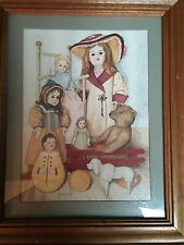 "Vintage Illustration of Antique Dolls Framed Excellent 18"" X 15"" Print in Frame"