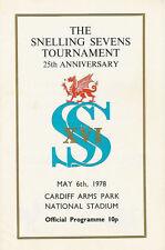 SNELLING SEVENS 1978 RUGBY PROGRAMME WINNERS BRIDGEND