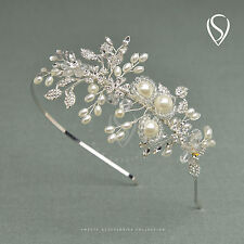 SWEETV Vintage Wedding Headband Crown Tiara Pearl Bride Hair Accessories Jewelry