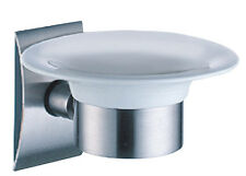 JUSTIME STAINLESS STEEL WALL-MOUNT SOAP DISH WITH BRUSHED FINISH (CERAMIC DISH)