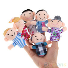 6PCS Baby Kids Plush Cloth Play Game Learn Story Family Finger Puppets Toys Set