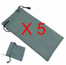 5 pcs Sunglasses grey soft Bag Pouch Case - Ideal for all Glasses