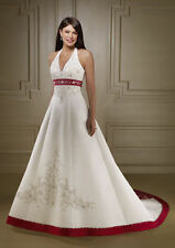 2017 New White And Red Embroidery Wedding Dresses Bridal Gowns stock size