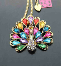 D609H?      Betsey Johnson Crystal Enamel Peacock Pendant Sweater Chain Necklace