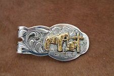 Silver Gold Money Clip Mens Western Cowboy Rodeo Cross Horse Engraved Religious