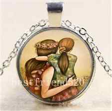 Mother and daughter best friends Cabochon Glass Tibet Silver Chain Necklace#54B