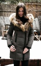 100% AUTHENTIC Rudsak Cadro Down Parka Jacket With Fur Trim Khaki Size Small