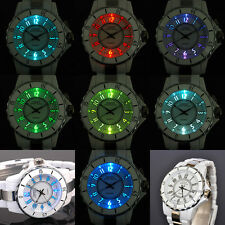 OHSEN 7 Colors LED Light White Womens Girls Analog Quartz Wrist Plastic Watch