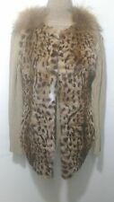 new design 100% real golden lynx with fox  fur waistcoat full pelt