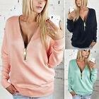 Damen V-Ausschnitt Pullover Sweatershirt Sweater Bluse Pulli Kapuzenpullover