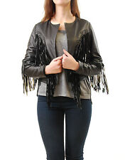Denham Women's Bandidos Fringed Leather Jacket Black Size M BCF511