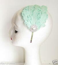 Vert Menthe & Argent Fascinator À Plumes Coiffe Vintage Headband Années 1920