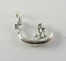 Gondola Gondolier Charm Pendant .925 Sterling Silver USA Jewelry Venice Boat Oar
