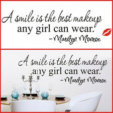 Women Girls Smile Inspirational Proverbs Quote Vinyl Wall Sticker Home Decor