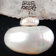 50x52x17mm Beautiful White Mother of pearl Shell Oval Pendant Bead  C3769