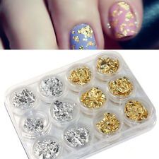 12PCS Gold Silver Nail Art  Paillette Flake Chip Foil DIY Acrylic UV Gel Pager 1