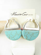 Kenneth Cole Silver Tone Large Turquoise Hoop Earrings, $38