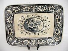 19th c  Victorian  Platter - S.H. c 1883 - Dark Blue/Black Palmyra Decoration