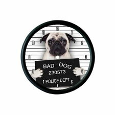 "FAWN PUG DOG ""BAD DOG"" PHOTO WALL CLOCK - ANIMAL PET LOVER GIFT"