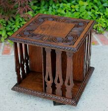 Antique English Oak Arts & Crafts Desktop Revolving Bookcase Book Holder Shelf