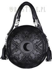 Restyle Black Henna Moon Round Bag Embroidery Punk Goth Witch Purse Handbag
