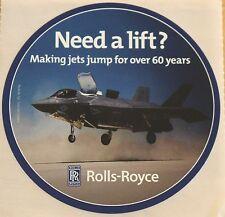 """## NEW ## Rolls-Royce Lockheed-Martin F-35B Lightning II """"Need a lift?"""" Sticker"""