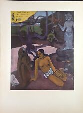"""1954 Vintage Full Color Art Plate """"WHERE DO WE COME FROM"""" DETAIL 1 GAUGUIN Litho"""
