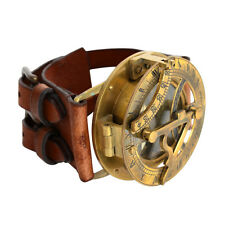 VINTAGE STOCK STEAMPUNK SUNDIAL COMPASS WRIST WATCH w BUFFALO LEATHER BRACELET