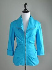 JOSEPH RIBKOFF $149 Subtle Stretch Pleated Full Zip Up Cuffed Jacket Top Size 12