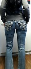 BUCKLE ROCK REVIVAL ESSIE BOOT CUT STRETCH THICK STITCH JEANS~SIZE 26 X 30
