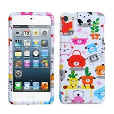For iPod Touch 5th Gen - HARD FITTED SKIN CASE COVER GREEN PINK WHITE DOGS PLAN