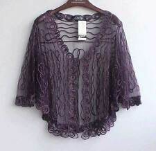 Sheer BOLERO SHRUG Handcraft cape Top amice cloke 8-20 Jacket Coat Wedding Chic