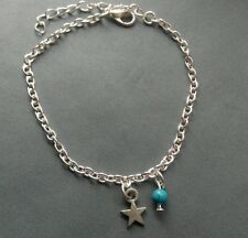 Small Star Turquoise Blue Bead Silver Tone Ankle Bracelet Foot Chain Love Beach