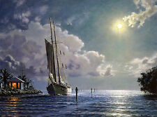"John Stobart Print - Key Largo: The Schooner ""Yankee"" Entering Ocean Reef"